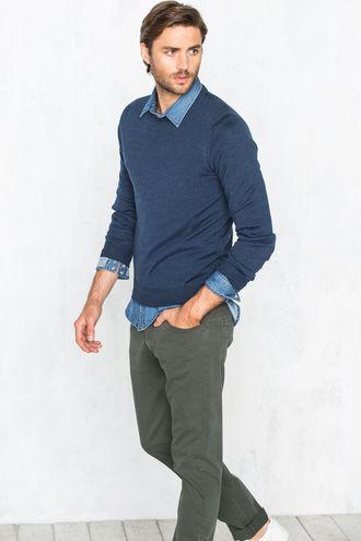 catalogo-cortefiel-hombre-otono-invierno-2015-2016-jersey-azul-cuello-redondo